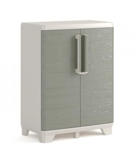 KETER Armoire basse de rangement - Wood Grain - Texture bois - 2 portes - - pieds ajustables - verouillable - Gris