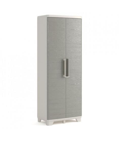 KETER Armoire haute de rangement - Wood Grain - Texture bois- 2 portes - piedsajustables - verouillable - Gris