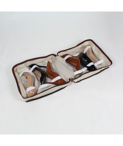 CASAME Sac de rangement 6 paires de chaussures - 37 x 34 x 16 cm - Beige
