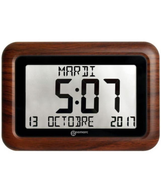 GEEMARC Horloge radiopilotée VISO 10 avec Cadre imitation bois
