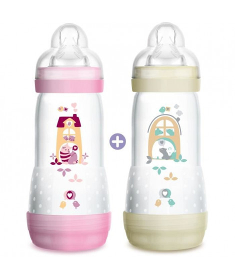 MAM Biberon Easy Start Anti-Colique  -  320ml - Tétine Débit 3 - Lot de 2 - Fille