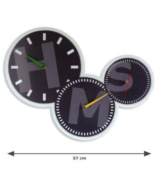 AUSTIN Horloge - Affichage déporté - 3 cadrans et 3 mouvements quartz - Noir