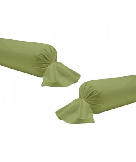 TODAY Lot de 2 taies de traversin 100% coton - 45x185 cm - Vert bambou