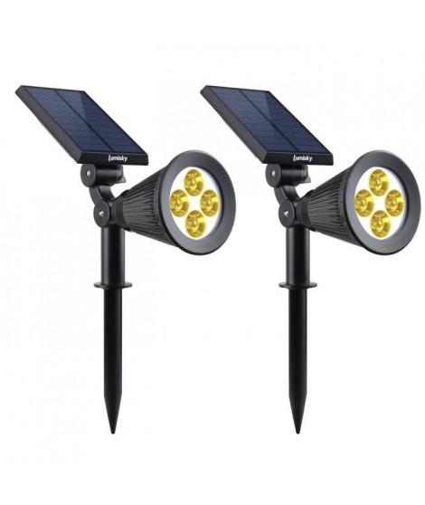 LUMI JARDIN Lot de 2 projecteurs Spot lumineux solaire a LED Spiky - Lumiere blanc chaud - 34 cm