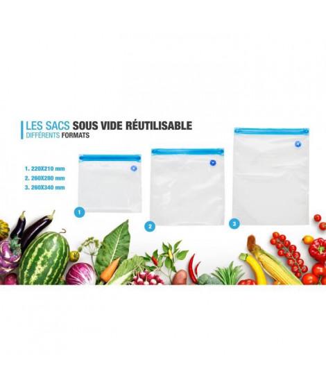CONSERVAIR - SEAL10 - Lot de 10 sacs sous vide réutilisables - lavable