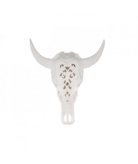 Trophée Tete de taureau en polyrésine - 44 x 17,5 x 49,5 cm - Blanc