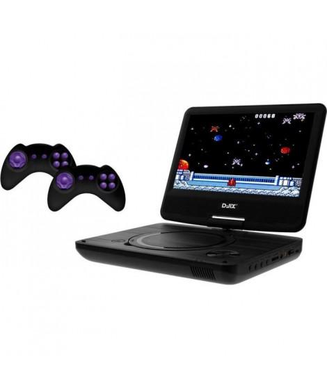 """D-JIX PVS906-20 Lecteur DVD  9"""" rotatif - 2 manettes - 64 jeux inclus - Noir"""