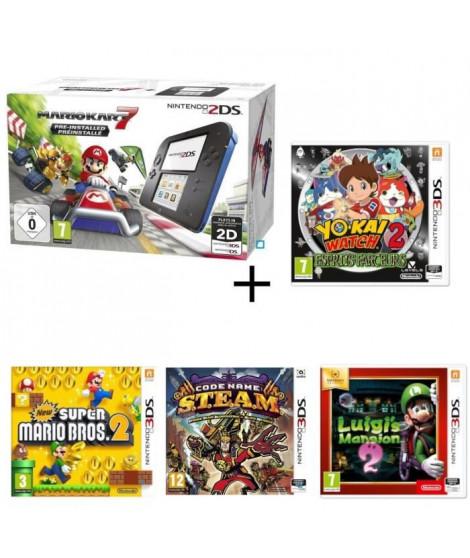 Nintendo 2DS + Mario Kart 7 + Yo-Kai Watch 2 : Esprits Farceurs + New Super Mario Bros 2 + Luigi's Mansion 2 +  S.T.E.A.M