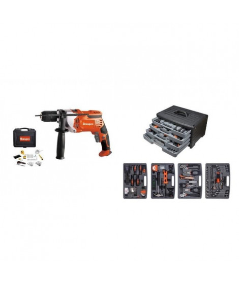 Pack Manupro 200 outils - Mallette a outils 199 accessoires avec perceuse filaire 1050W