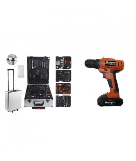 Pack Manupro 1000 outils - Mallette a outils 199 accessoires avec perceuse sans fil 21V