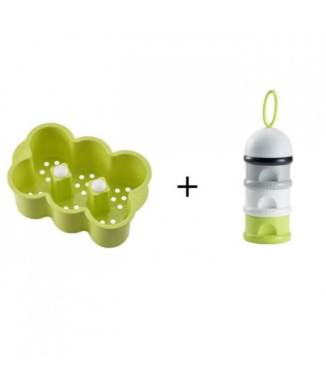 BEABA Boîte doseuse de lait empilable neon + Casier a biberon neon