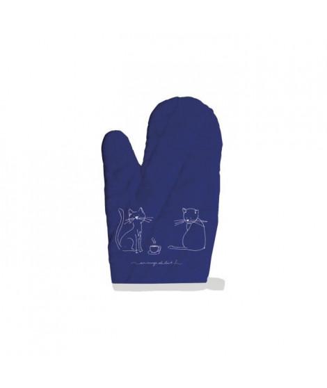 SOLEIL D'OCRE Gant de cuisine Chat - 100% coton - 16 x 32 cm - Bleu
