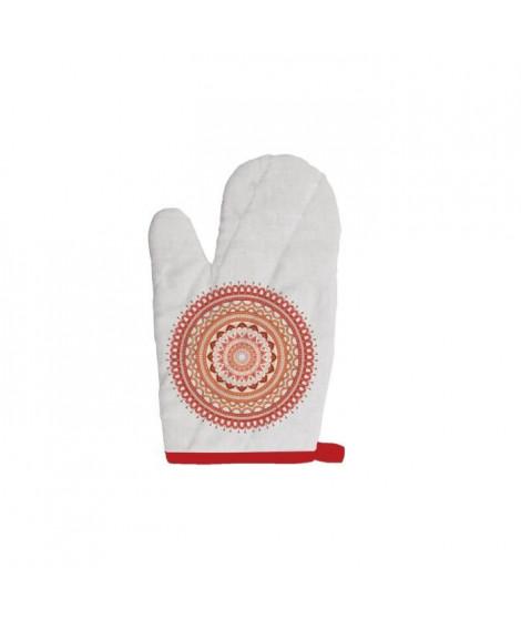 SOLEIL D'OCRE Gant de cuisine Mandala - 100% coton - 16 x 32 cm - Orange