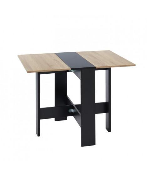 JUNO Table de séjour pliante 4 personnes - Décor chene et noir - L 104 x 76 x 74 cm