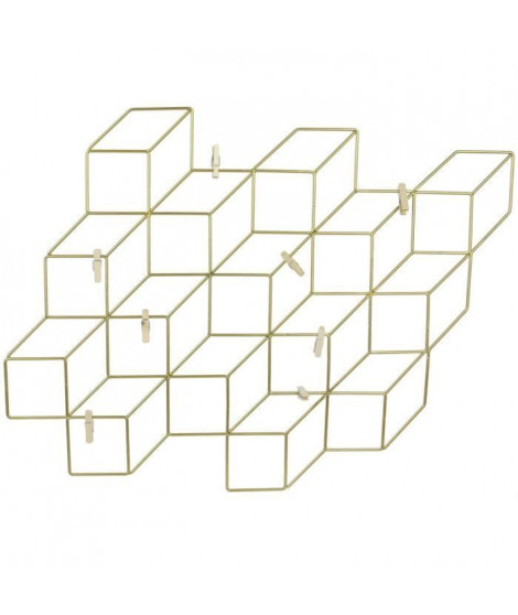 THE HOME DECO FACTORY Pele-mele - Cubes filaires Or - 8 Pinces - 46X42 cm - Noir