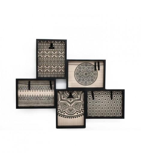 Pele-mele avec pinces ethnique - 59 x 48,5 cm - Naturel et noir