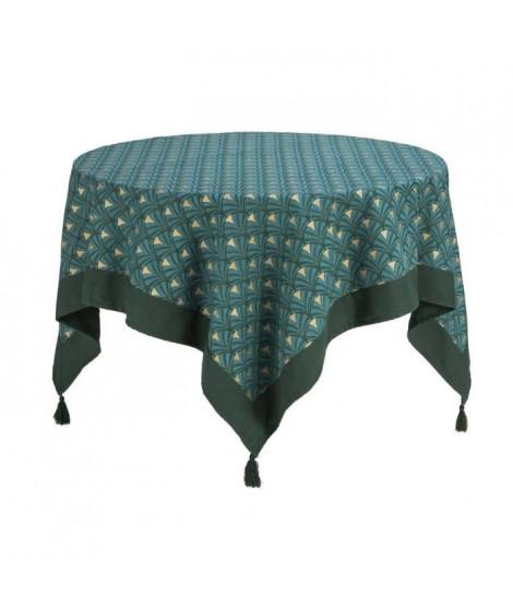 DEKOANDCO Nappe carrée Riviera - 150x150 cm - 4 pompons amovibles- Imprimé vert