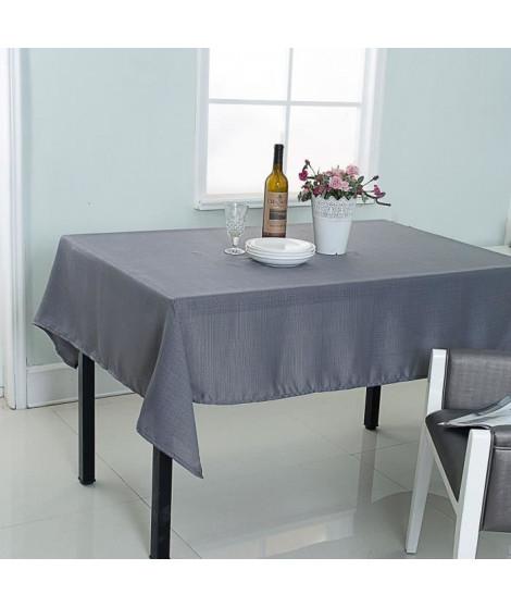 Nappe de table décorative rectangulaire uni effet tissé - 140x240cm - 100% polyester