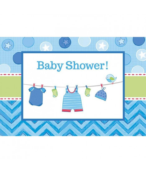 AMSCAN Lot de 12 Cartes d'invitation et enveloppes Shower with Love Boy 15,8 x 10,8 cm