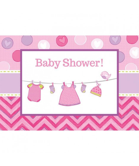 AMSCAN Lot de 2 cartes d'invitation et enveloppes Shower with Love Girl 15,8 x 10,8 cm