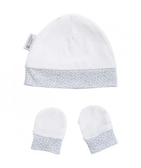 CANDIDE Bonnet & moufles naissance - Gris bleuté - Pois