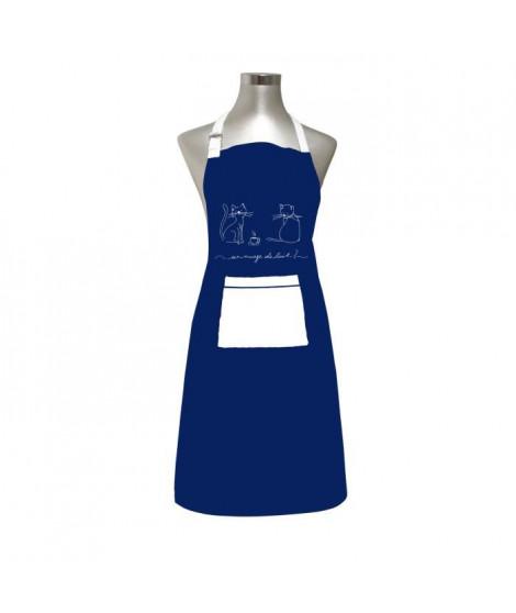 SOLEIL D'OCRE Tablier Chat - 100% coton brodé - 60 x 80 cm - Bleu