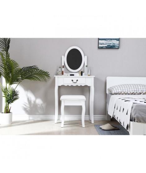 Coiffeuse avec Miroir + Tabouret - Décor Blanc et pied en bois - L 66 x P 36,5 x H 127