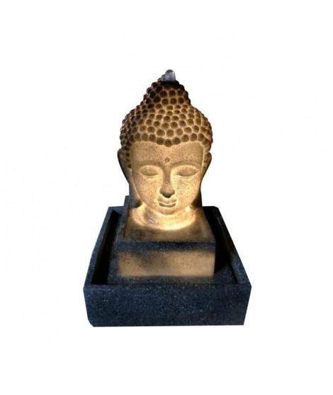 Fontaine lumineuse Bouddha - 3 LED - 27 x 27 x H41 cm - Polyresine - Gris - Transfo
