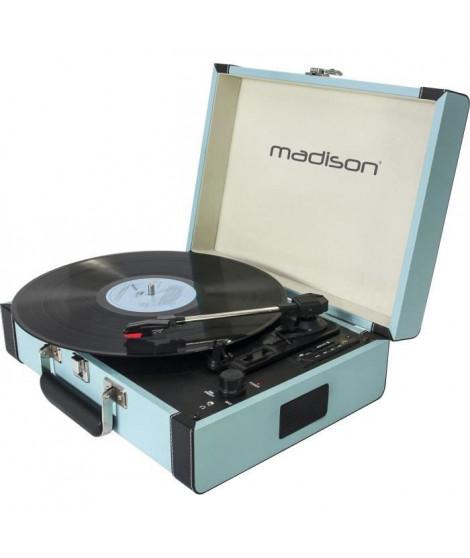MADISON 10-5550MA Mallette tourne-disques - Bluetooth, USB, SD & fonction d'enregistrement - Bleu