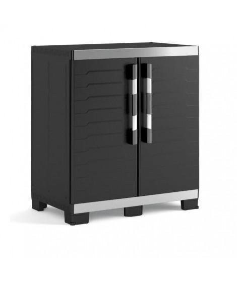 KETER Armoire basse de rangement XL  - 2 portes - pieds surélevés et ajustables - verouillable - Noir