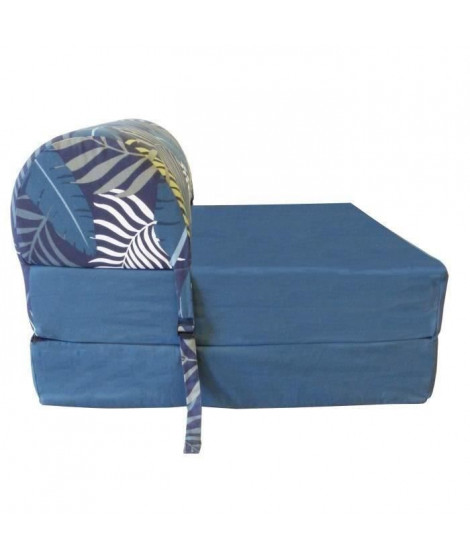 HIBA Chauffeuse 1 place Jungle - Tissu Bleu - Style ethnique - L 58 cm