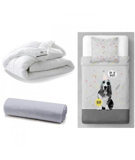 TODAY Pack Enfant complet DOG YAY 140x200cm - Couette + Parure de couette + Drap Housse Coton