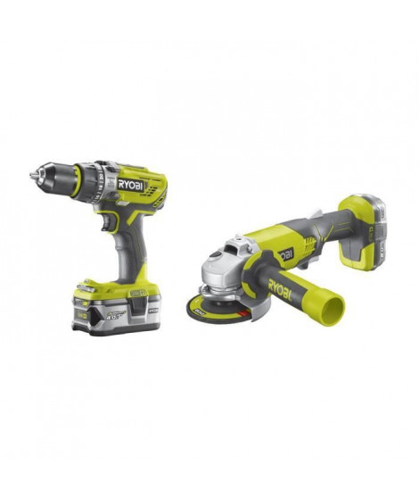 RYOBI Pack 18 V : Perceuse a percussion + meuleuse 115mm - 2 batteries 1 x 2,0 Ah et 1 x 4,0 Ah