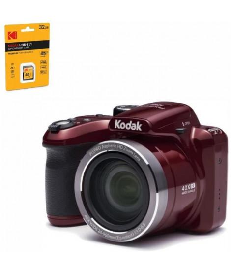 KODAK AZ401 ASTRO ZOOM Appareil photo numérique Bridge - 16 Megapixels - Zoom 40x - Rouge + KODAK UHS1 U1 Carte mémoire SDHC-…