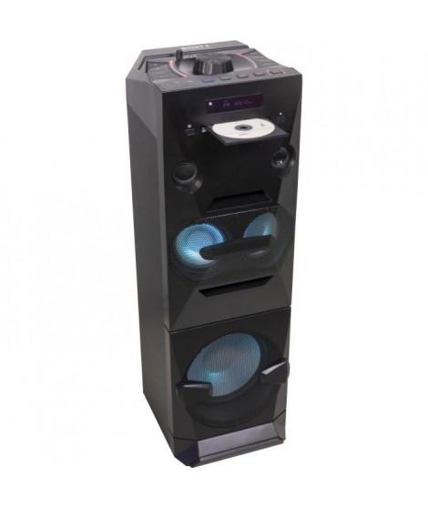"""BOOST 10-7135BO Enceinte active 3 voies a LED 10"""" / 25 cm - Lecteur CD, FM, Bluetooth & 2x USB"""