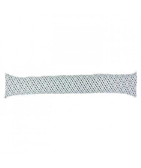 Boudin de porte 100% coton imprimé CLOVER - 90x10 cm - Noir et banc