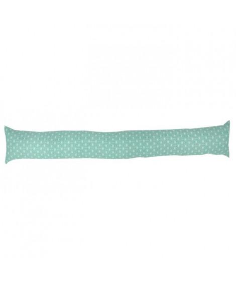 Boudin de porte 100% coton imprimé SCANDI - 90x10 cm - Vert d'eau et blanc
