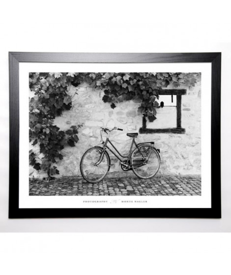NAGLER Image encadrée La Bicyclette, Turckheim - Grand format 67x87 cm Gris