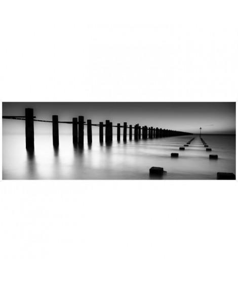Affiche encadrée petite moulure Zen Quai - 30 x 90 cm - Blanc et noir