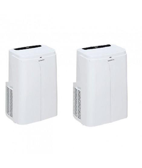 OCEANIC Pack de 2 climatiseurs réversibles mobiles 3650 W - 12000 BTU - Programmable - Classe énergétique A