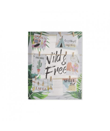 Porte-photos Tropical en toile et corde - 40 x 50 x 2,5 cm - Multicolore
