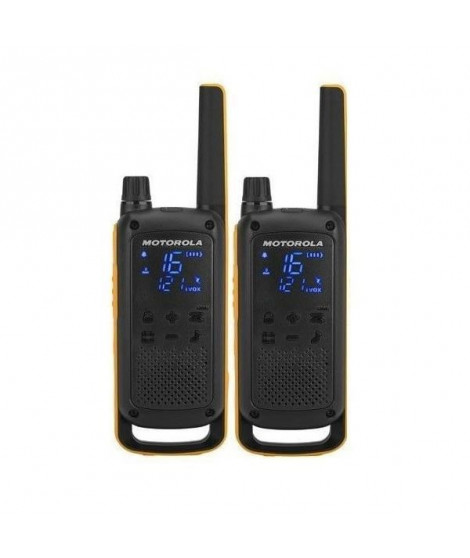 MOTOROLA Pack de 2 Talkies Walkies Radios T82 EXTREME norme PMR446 - Noir