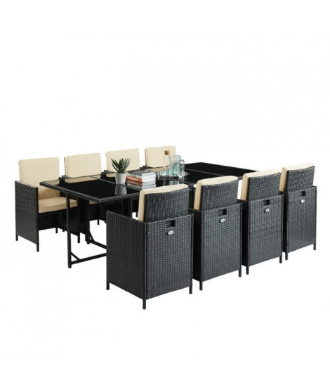 LIPSI Ensemble table en verre trempé et 8 fauteuils en résine tressée - 220 x 110 x 74 cm