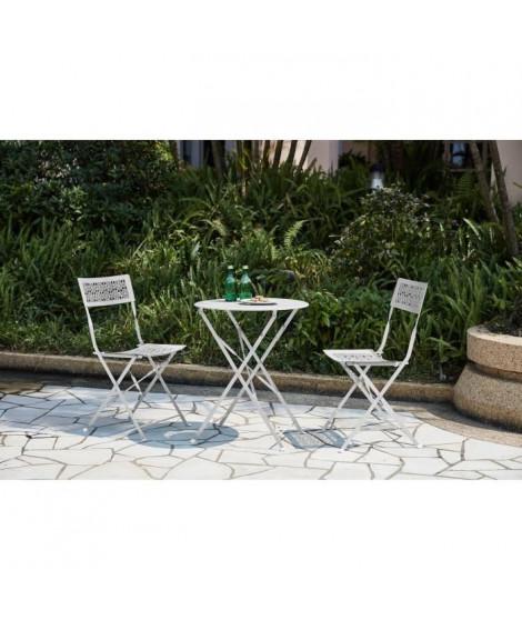 Ensemble repas de jardin - Set bistrot table avec 2 chaises - Ø 60 x 70 cm - Blanc