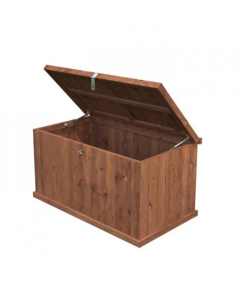 Coffre bois Coffre Bois BNVPI - Forme rectangulaire - 114 x 63 cm - Sapin du Nord - Bois massif - Coloris : bois traité marron