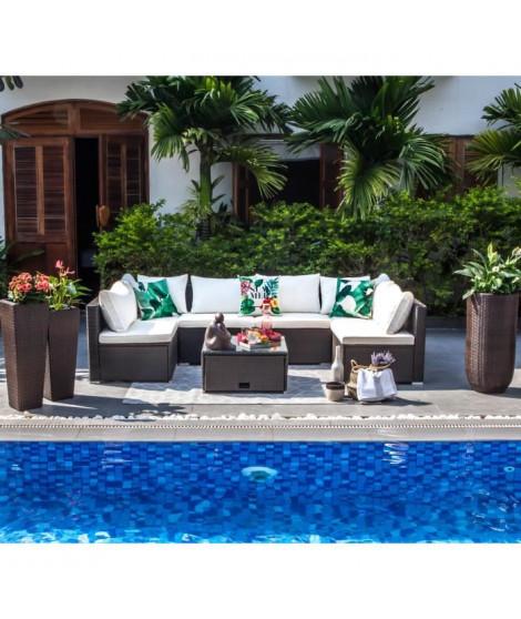 SYMI Salon de jardin en résine tressée 5 places - canapé modulable de 6 unités avec table basse