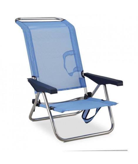 EREDU Chaise de Plage-Lit 991/Tx - Aluminium et PVC Tissé - Bleu et Gris