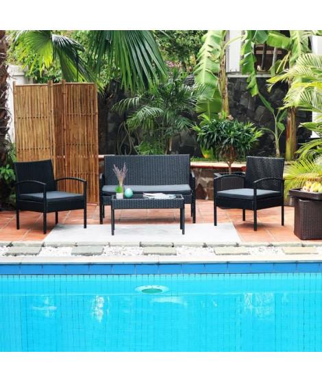 SAFI Salon de jardin 4 places en résine tressée - Noir avec coussins gris