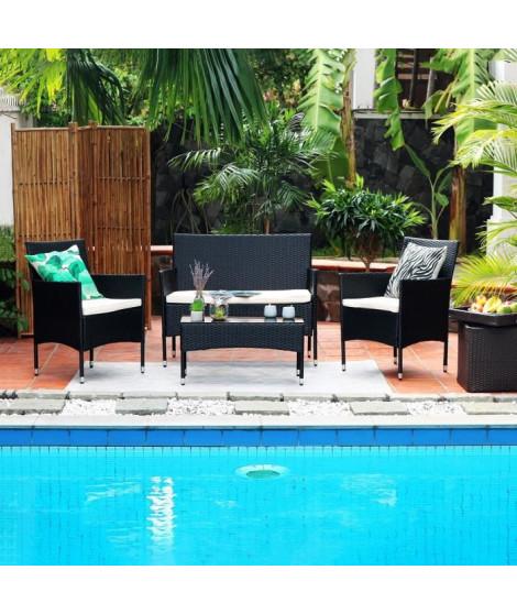 MAMBO Salon jardin 4 places en résine tressée - Noir