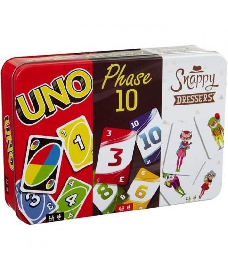 MATTEL GAMES - Coffret Multicartes - 3 Jeux de Cartes Famille : Uno, Phase 10 et les Animaux en Fete - 7 ans et +